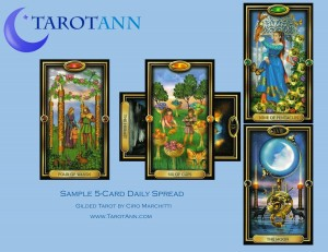 5 Card Daily Spread, Gilded Tarot by Ciro Marchitti